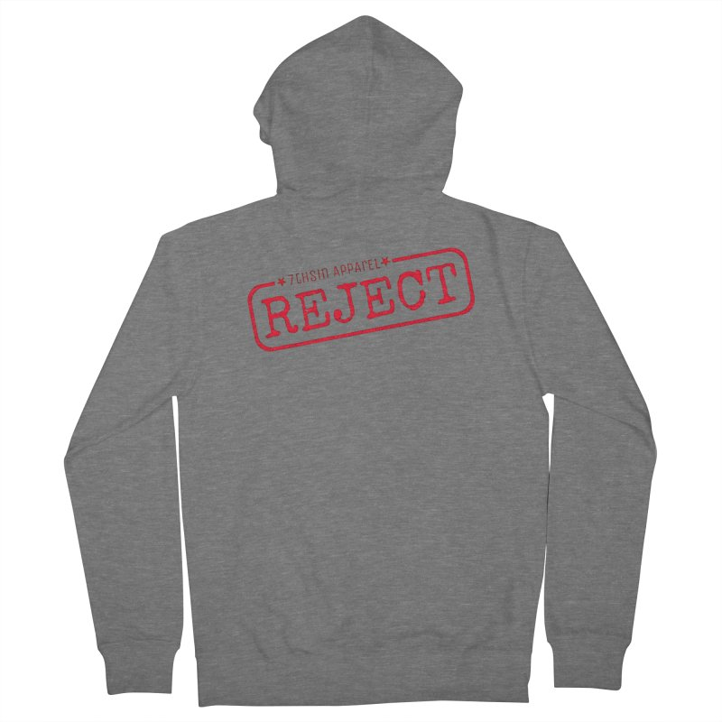 REJECT (7thSin logo) Men's French Terry Zip-Up Hoody by 7thSin Apparel