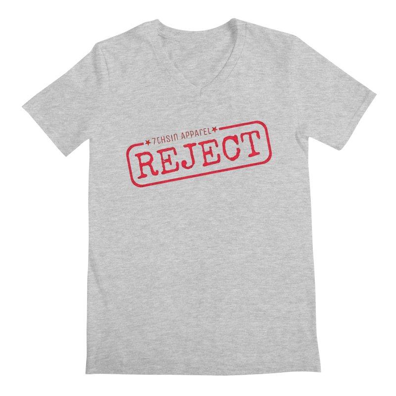REJECT (7thSin logo) Men's Regular V-Neck by 7thSin Apparel