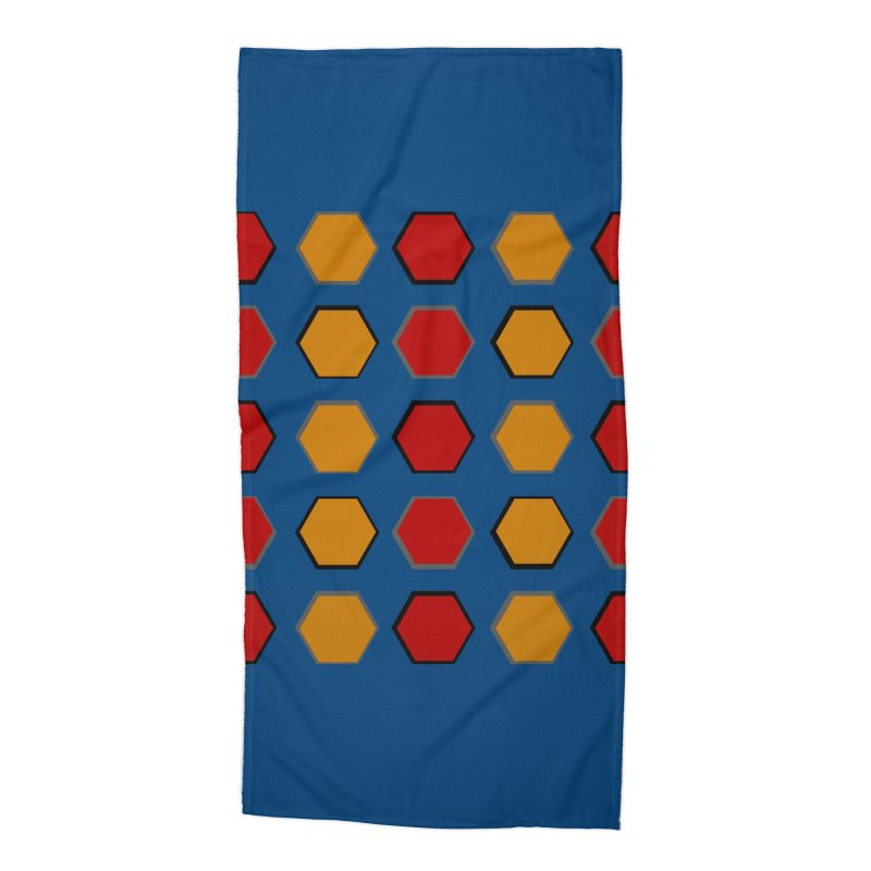 Red and Gold Pattern Design Accessories Beach Towel by 8010az's Shop