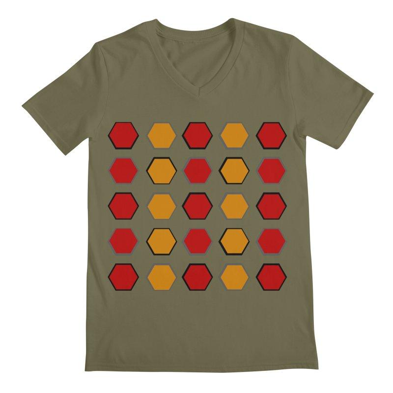 Red and Gold Pattern Design Men's Regular V-Neck by 8010az's Shop