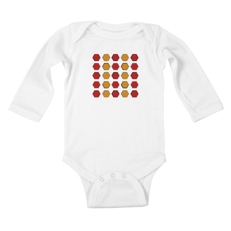 Red and Gold Pattern Design Kids Baby Longsleeve Bodysuit by 8010az's Shop