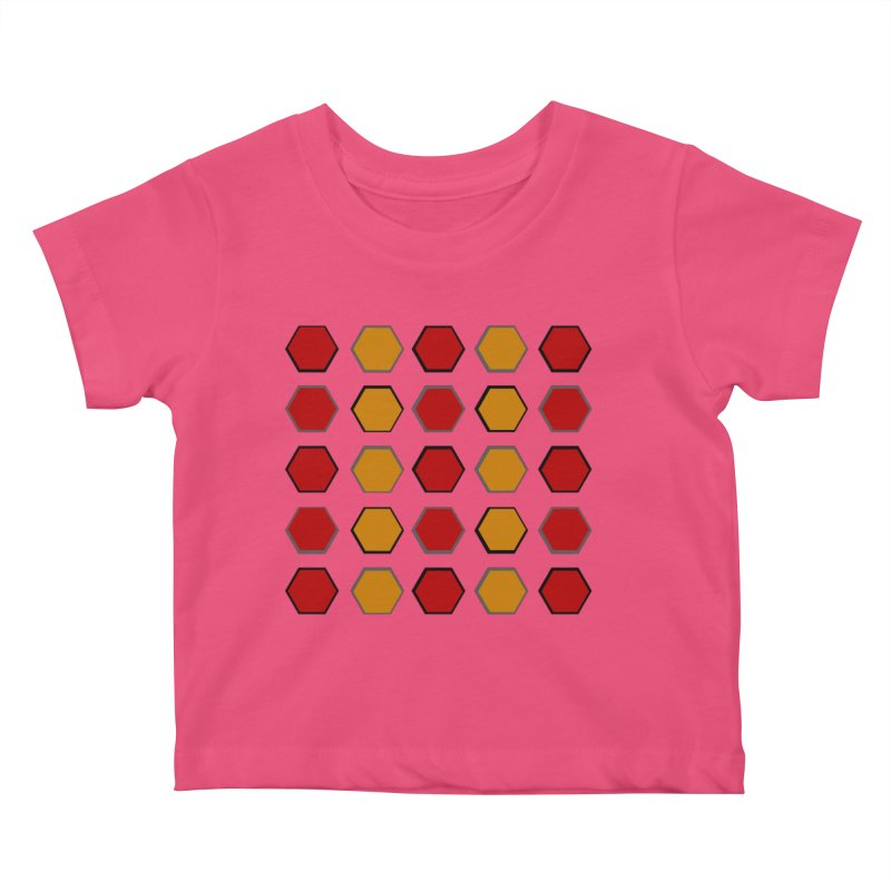 Red and Gold Pateren Kids Baby T-Shirt by 8010az's Shop
