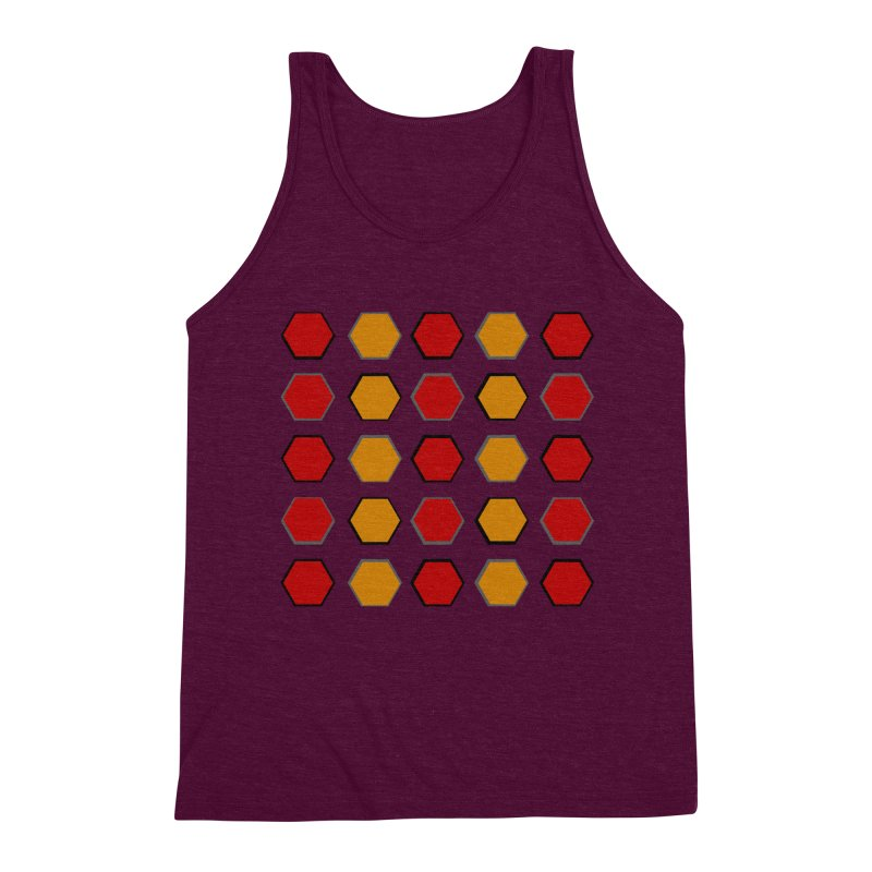 Red and Gold Pattern Design Men's Triblend Tank by 8010az's Shop