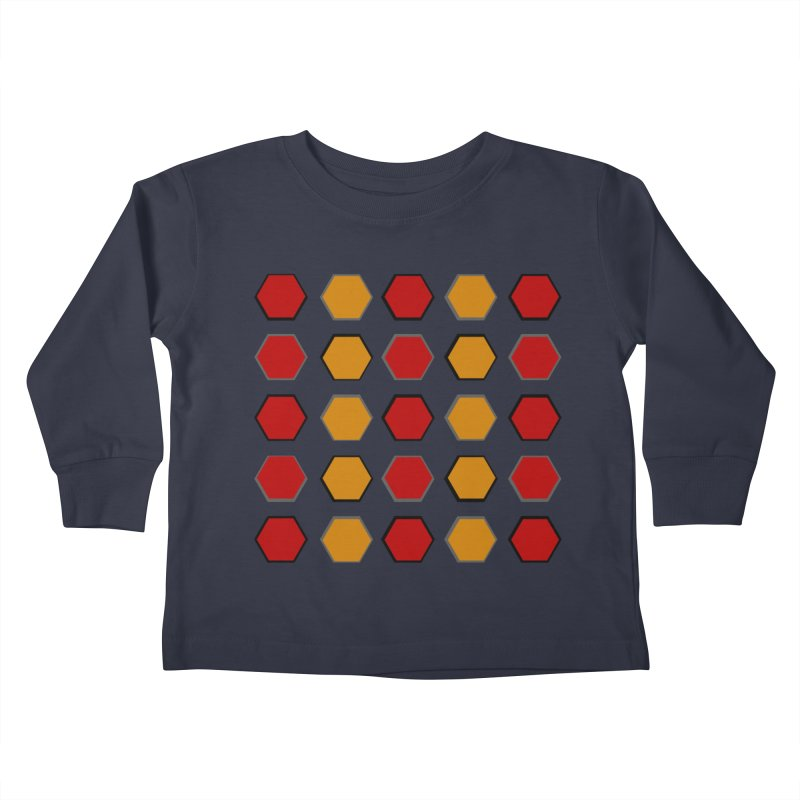 Red and Gold Pattern Design Kids Toddler Longsleeve T-Shirt by 8010az's Shop