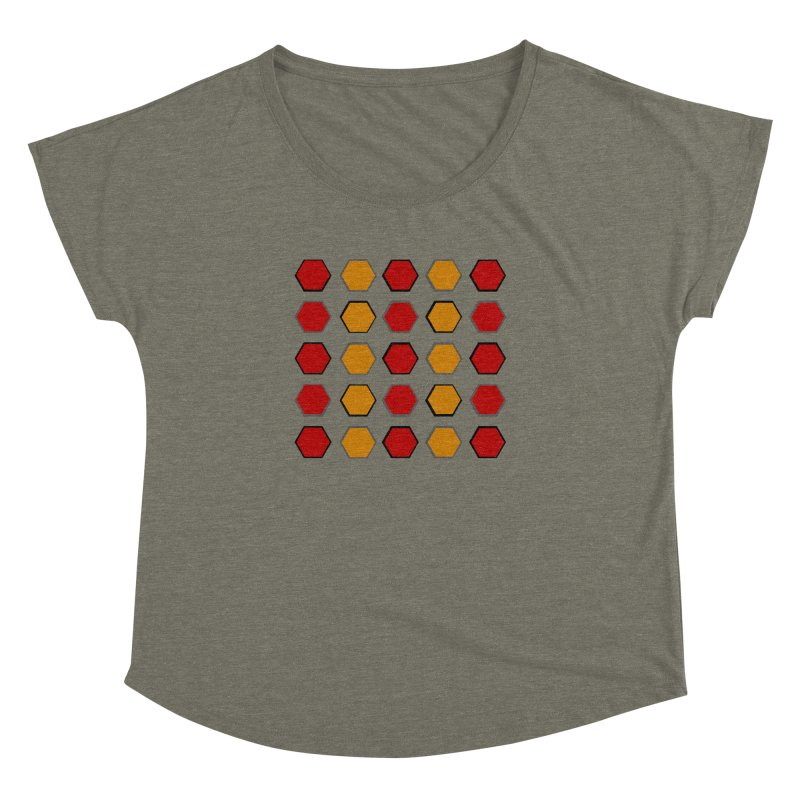 Red and Gold Pateren Women's Dolman Scoop Neck by 8010az's Shop