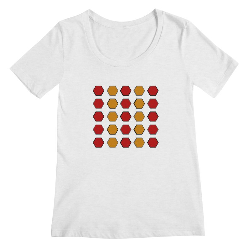 Red and Gold Pattern Design Women's Regular Scoop Neck by 8010az's Shop