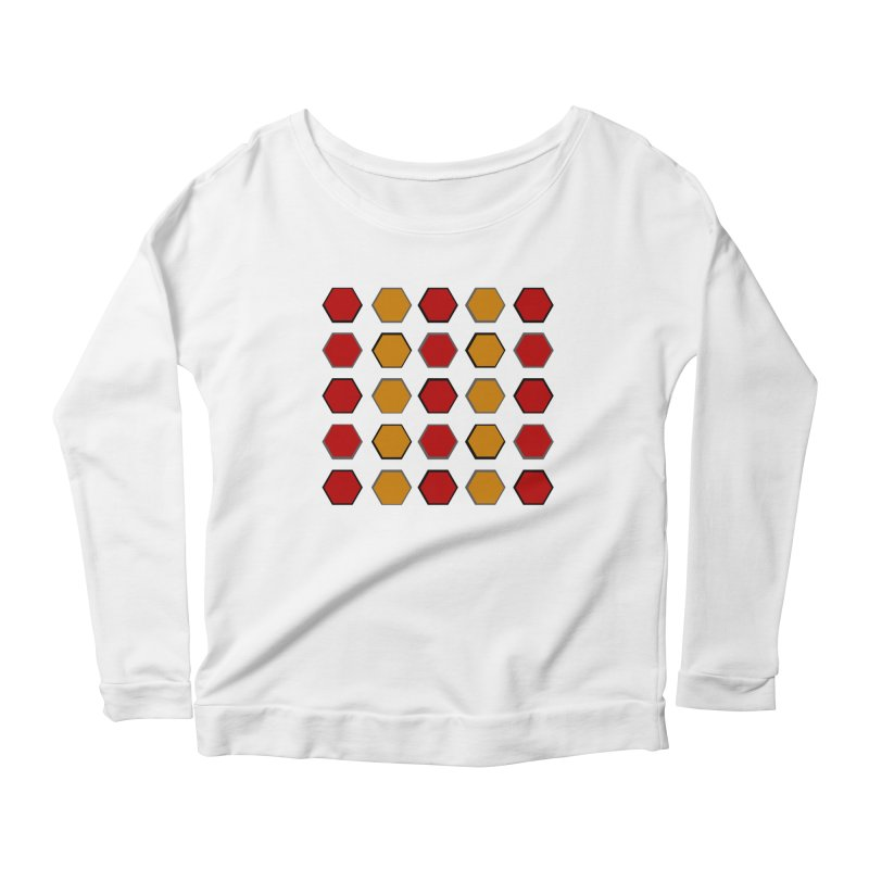 Red and Gold Pattern Design Women's Scoop Neck Longsleeve T-Shirt by 8010az's Shop