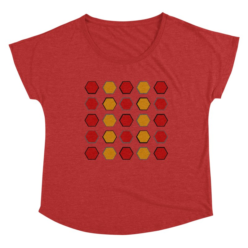 Red and Gold Pattern Design Women's Dolman Scoop Neck by 8010az's Shop