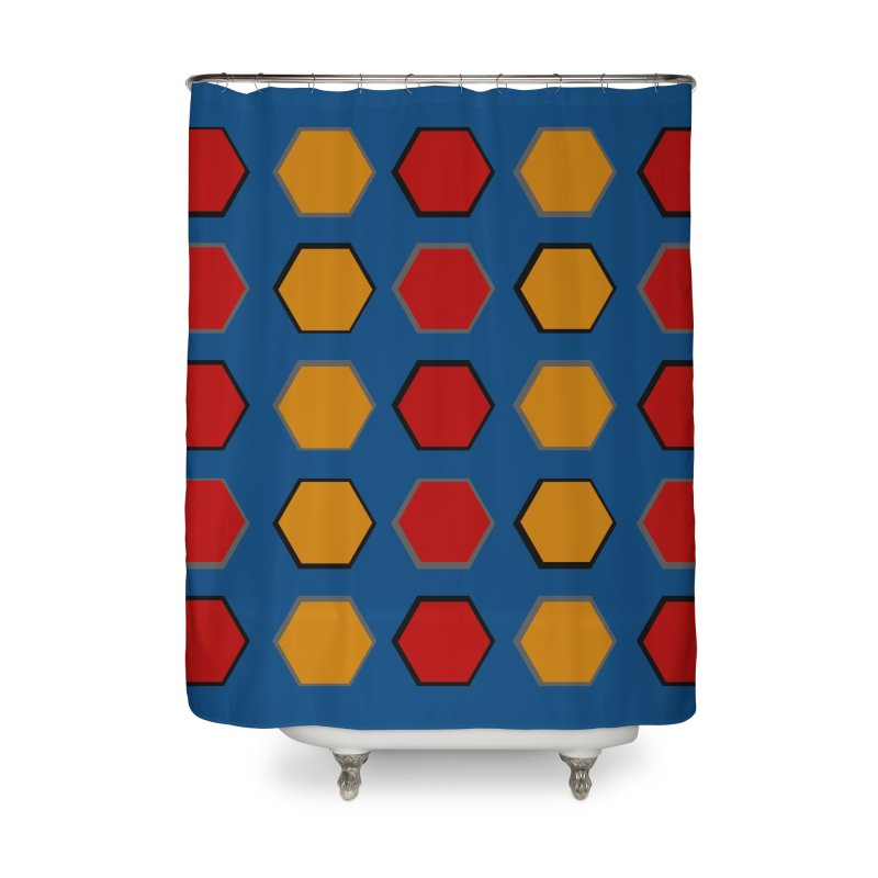 Red and Gold Pattern Design Home Shower Curtain by 8010az's Shop