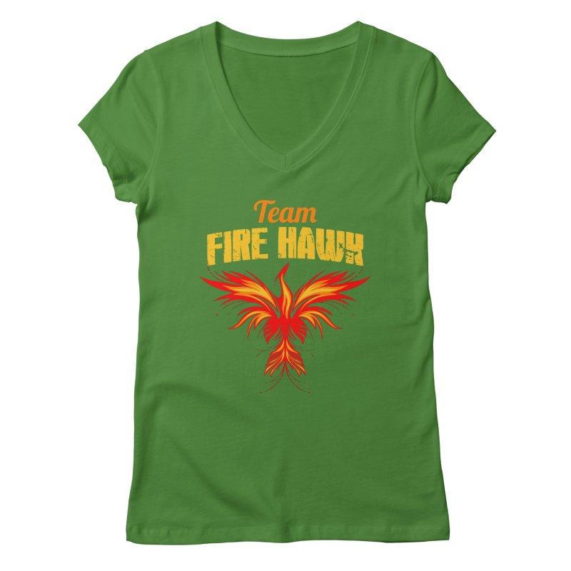 team fire hawk Women's Regular V-Neck by 8010az's Shop