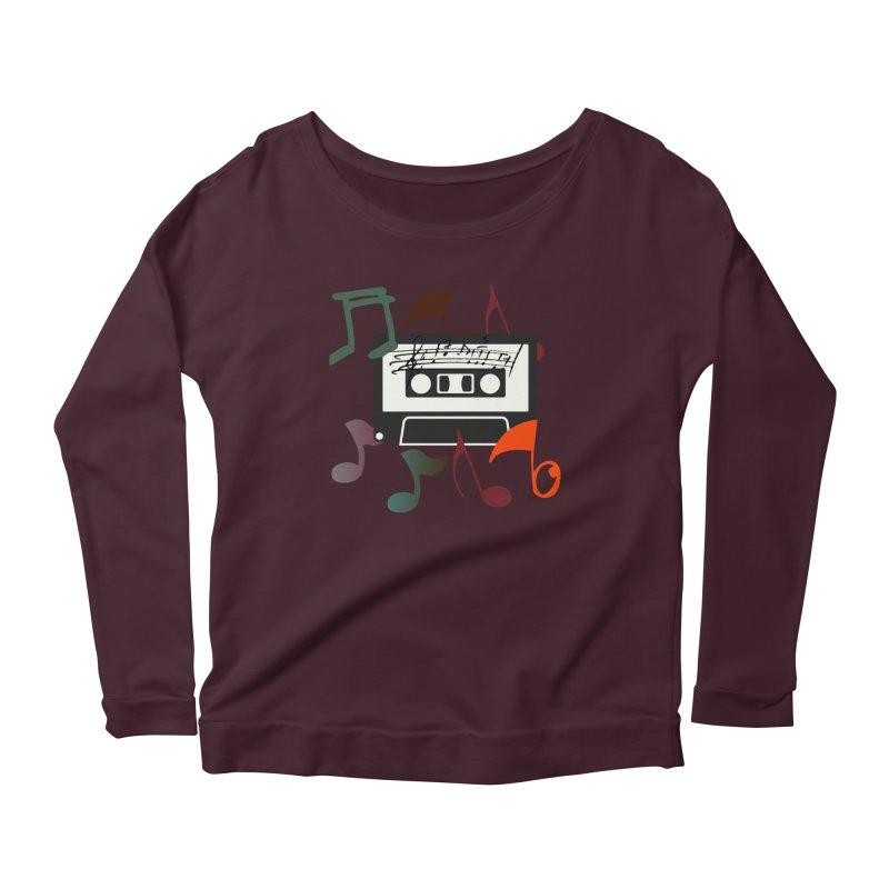 Vintage Music Women's Scoop Neck Longsleeve T-Shirt by 8010az's Shop