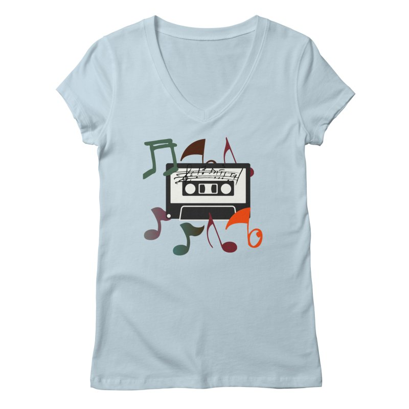 Vintage Music Women's Regular V-Neck by 8010az's Shop