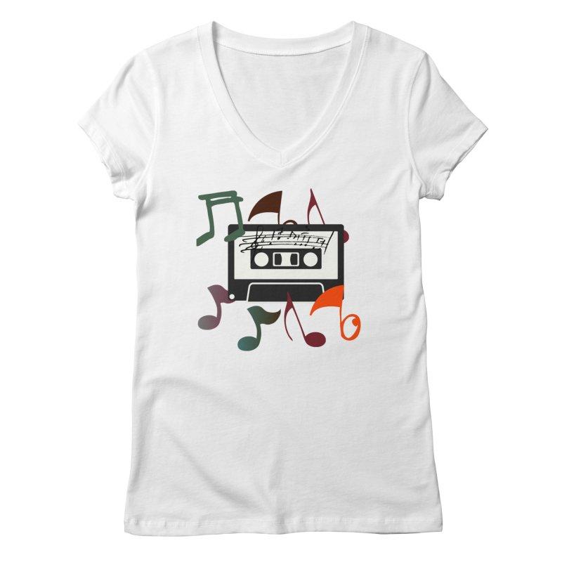 Vintage Music Women's Regular V-Neck by 8010az's Shop