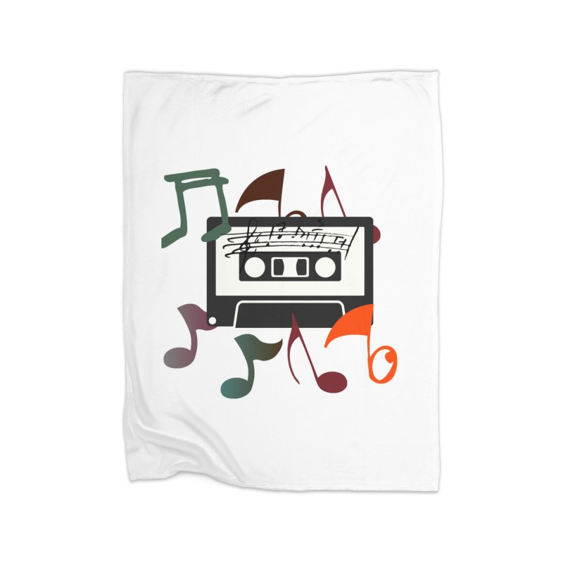 Vintage Music Home Fleece Blanket Blanket by 8010az's Shop