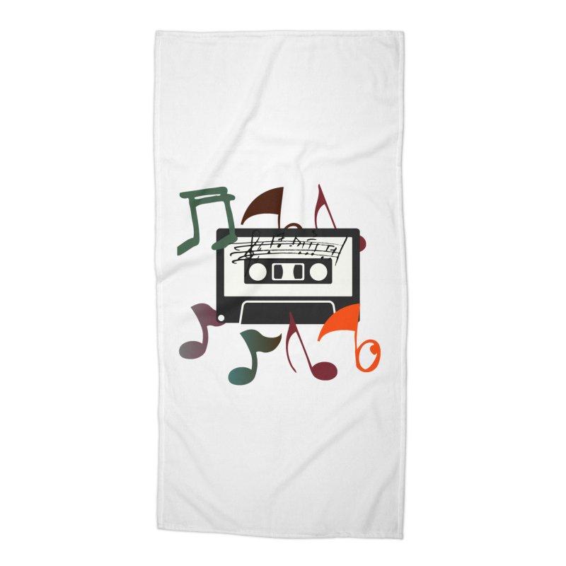 Vintage Music Accessories Beach Towel by 8010az's Shop