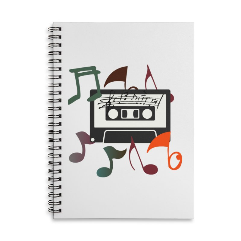 Vintage Music Accessories Lined Spiral Notebook by 8010az's Shop