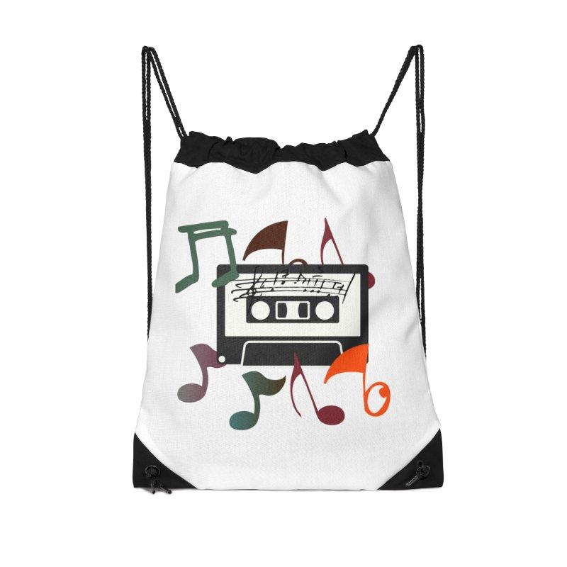 Vintage Music Accessories Drawstring Bag Bag by 8010az's Shop