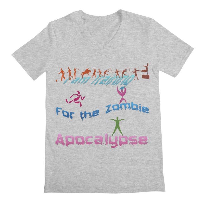 Fitness For The Zombie Apocalypse Men's Regular V-Neck by 8010az's Shop