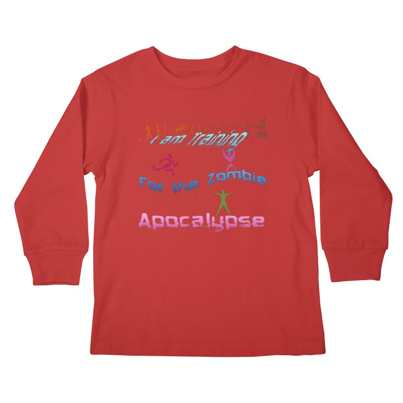 Fitness For The Zombie Apocalypse Kids Longsleeve T-Shirt by 8010az's Shop