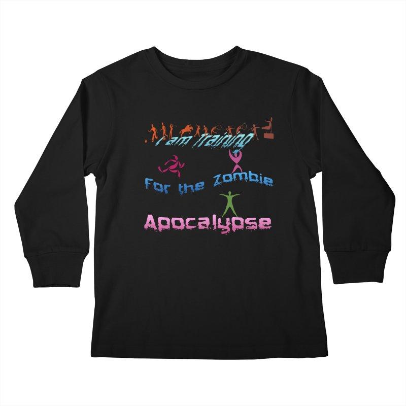 Fitness For The Zombie Apocalypse Kids Longsleeve T-Shirt by 8010az's Shop