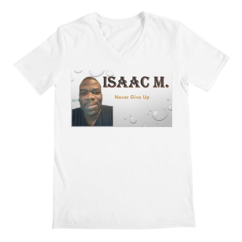 Isaac M - T-shirt - Never give up Men's Regular V-Neck by 8010az's Shop