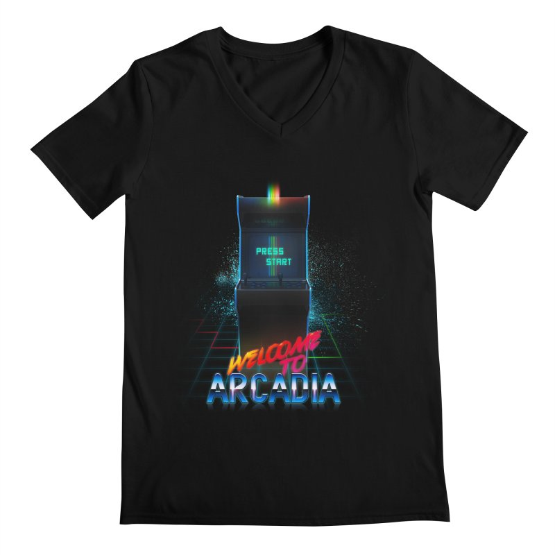Arcadia Men's Regular V-Neck by 80's Pixels's Shop
