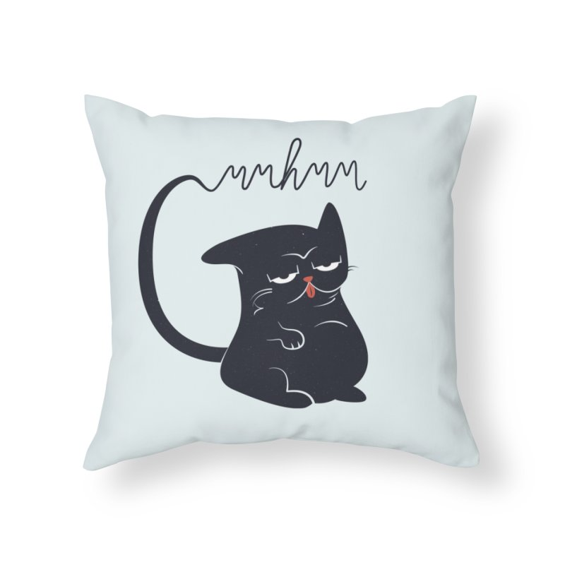 Gritty Kitty Mmhmm Home Throw Pillow by 84collective