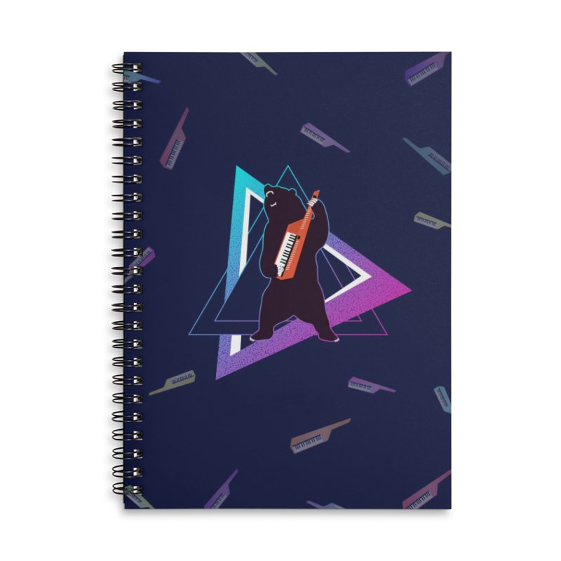The Growling Keytarist (Grizzly Bear Music) Accessories Lined Spiral Notebook by 84collective