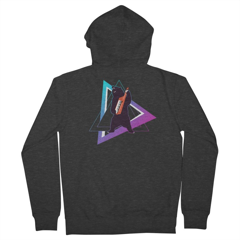The Growling Keytarist (Grizzly Bear Music) Women's French Terry Zip-Up Hoody by 84collective