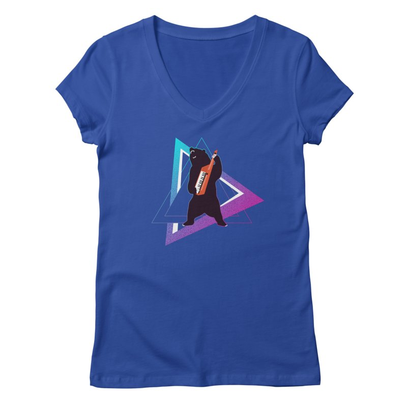 The Growling Keytarist (Grizzly Bear Music) Women's Regular V-Neck by 84collective