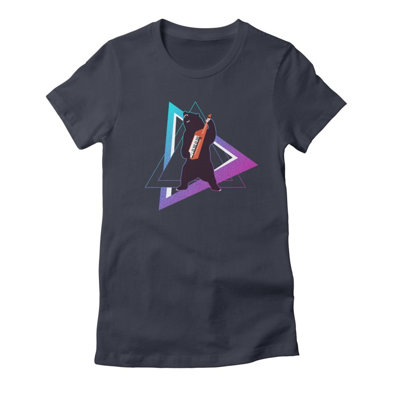 The Growling Keytarist (Grizzly Bear Music) in Women's Fitted T-Shirt Midnight by 84collective