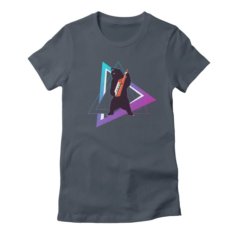 The Growling Keytarist (Grizzly Bear Music) Women's Fitted T-Shirt by 84collective