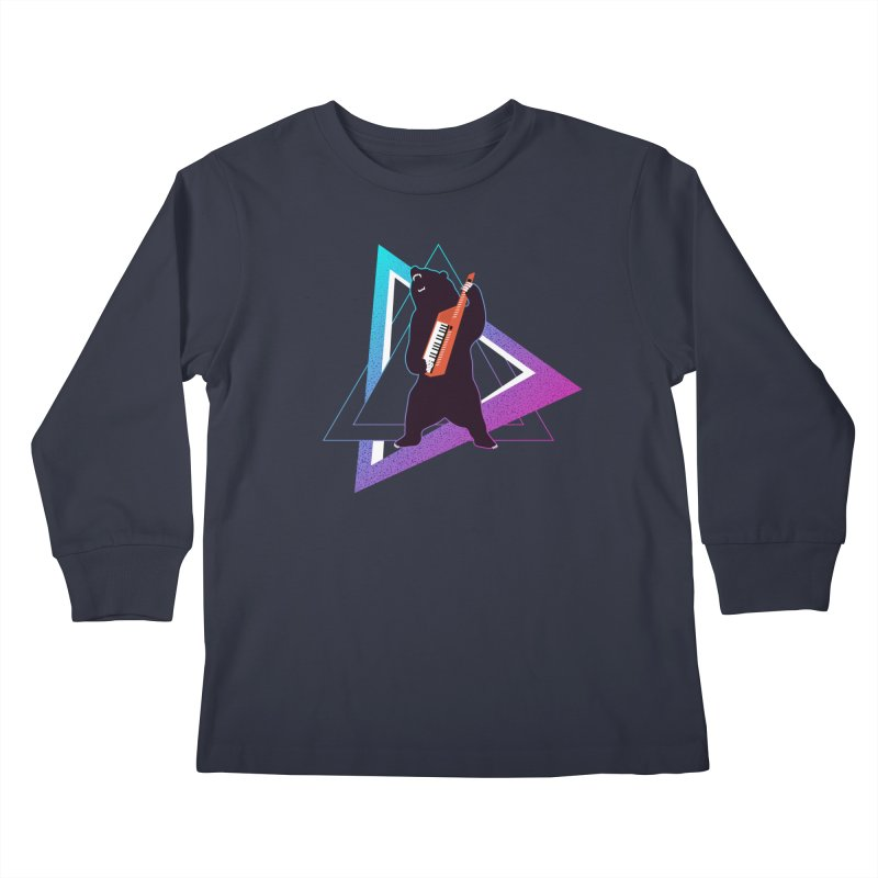 The Growling Keytarist (Grizzly Bear Music) Kids Longsleeve T-Shirt by 84collective