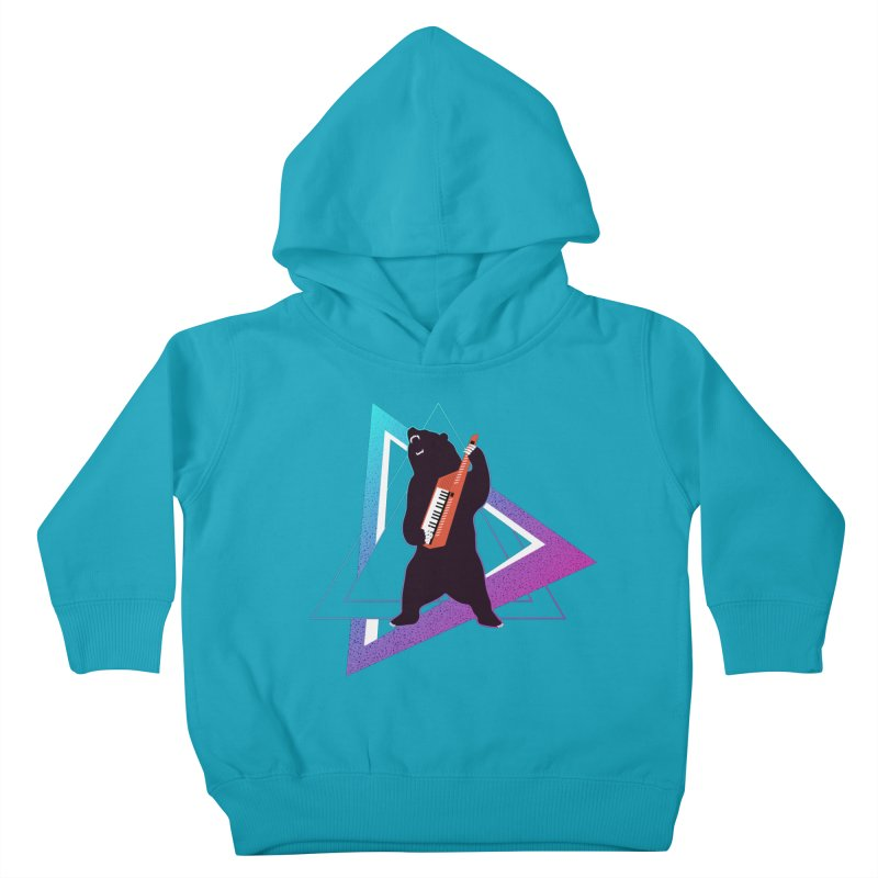 The Growling Keytarist (Grizzly Bear Music) Kids Toddler Pullover Hoody by 84collective