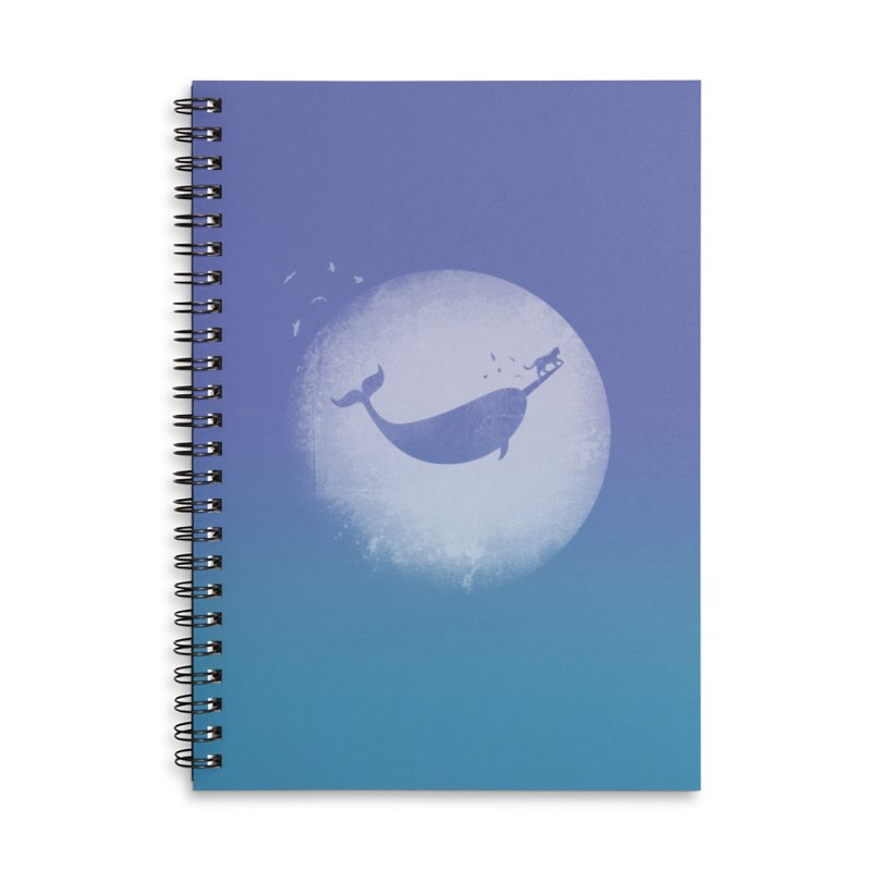 CaterNarwhal at the Moon Accessories Lined Spiral Notebook by 84collective