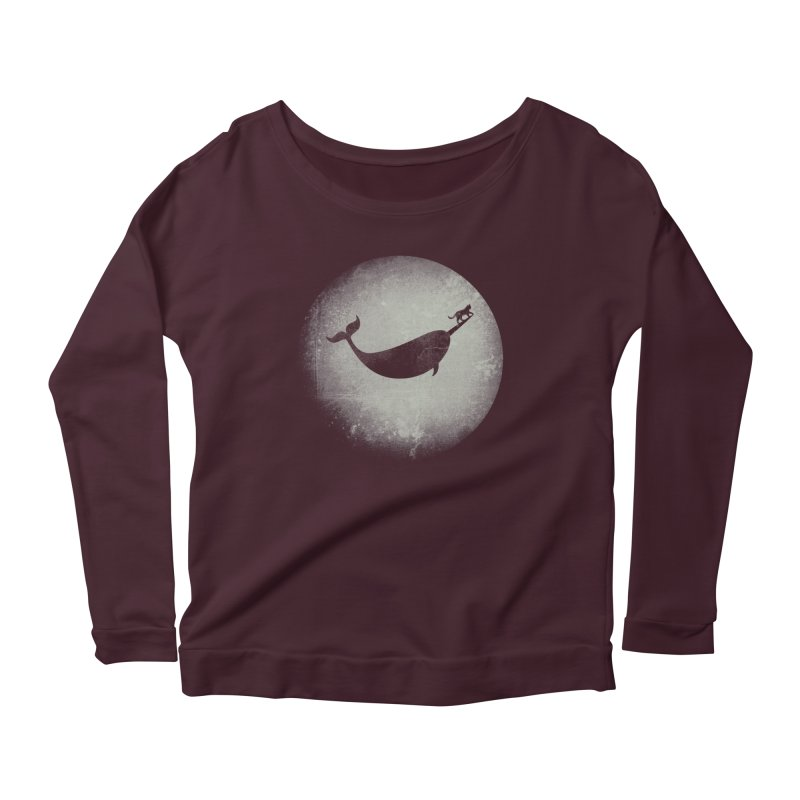 CaterNarwhal at the Moon Women's Scoop Neck Longsleeve T-Shirt by 84collective