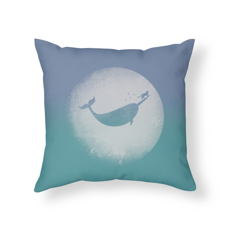 CaterNarwhal at the Moon Home Throw Pillow by 84collective