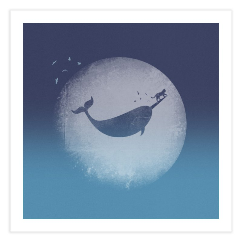 CaterNarwhal at the Moon Home Fine Art Print by 84collective
