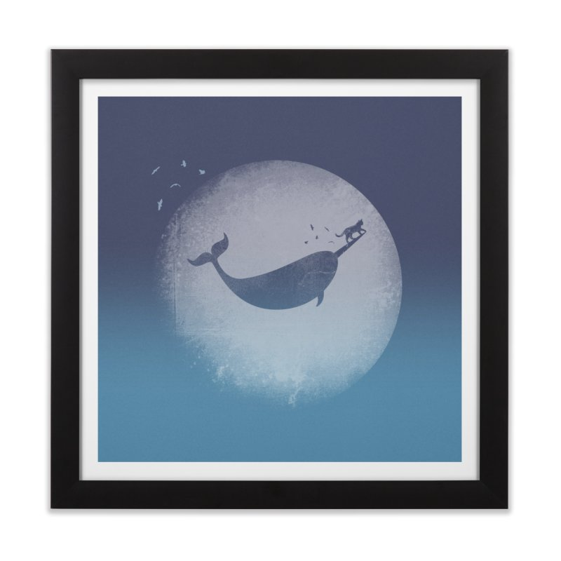CaterNarwhal at the Moon Home Framed Fine Art Print by 84collective