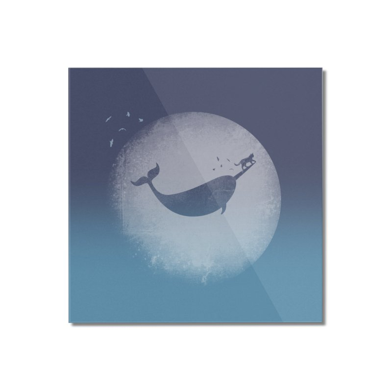 CaterNarwhal at the Moon Home Mounted Acrylic Print by 84collective