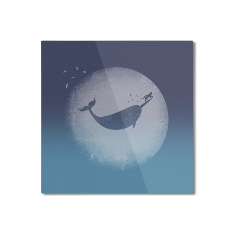 CaterNarwhal at the Moon Home Mounted Aluminum Print by 84collective