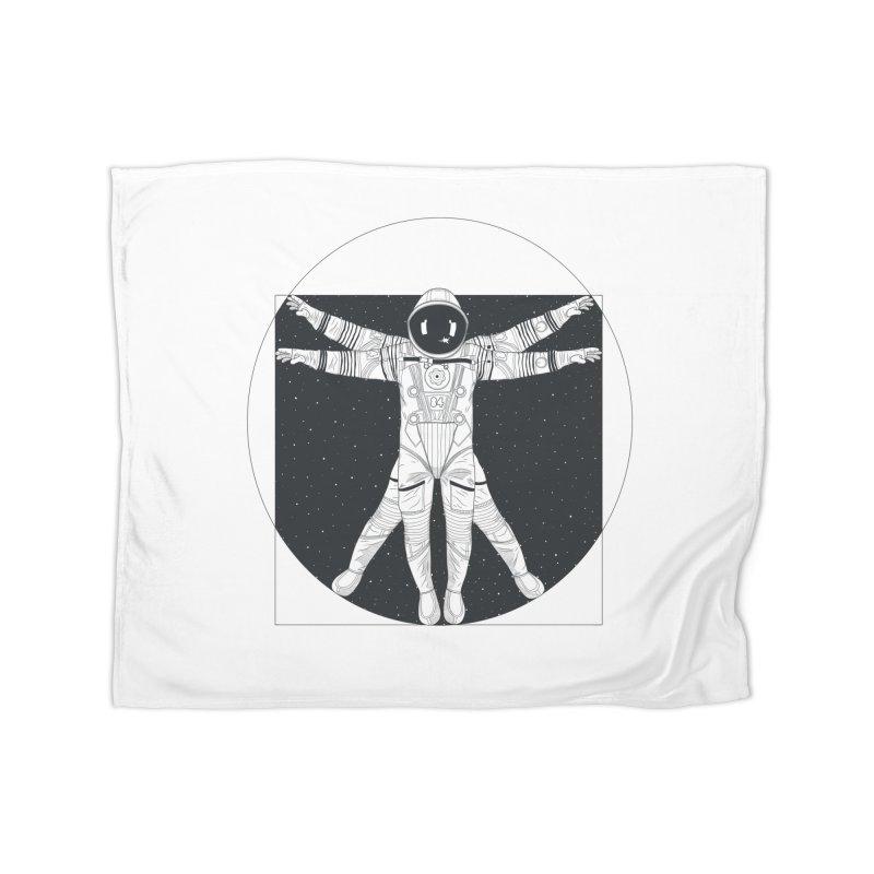 Vitruvian Spaceman (Dark Ink) Home Fleece Blanket Blanket by 84collective