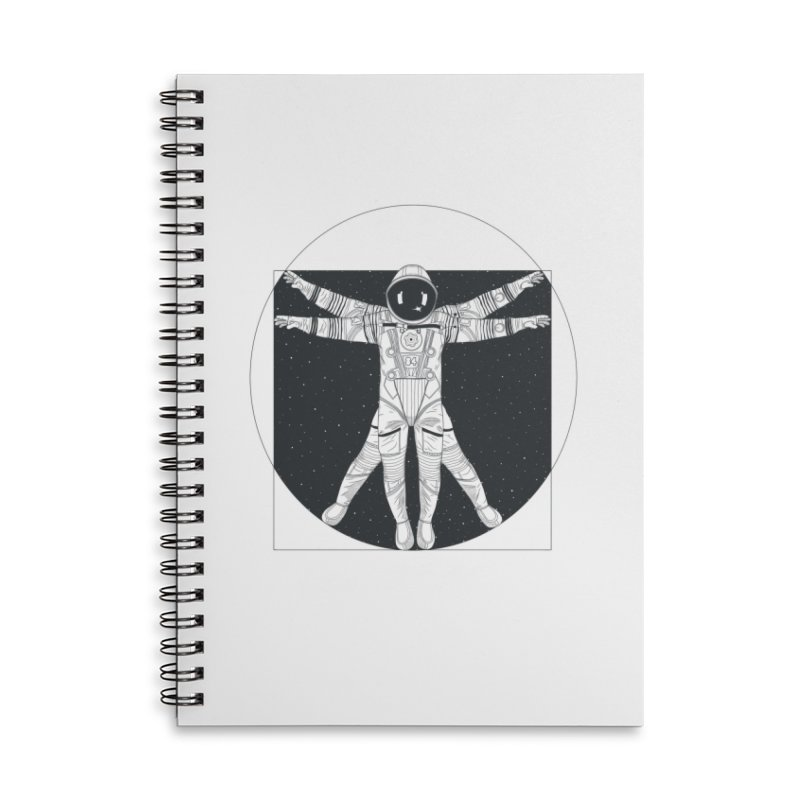 Vitruvian Spaceman (Dark Ink) Accessories Lined Spiral Notebook by 84collective
