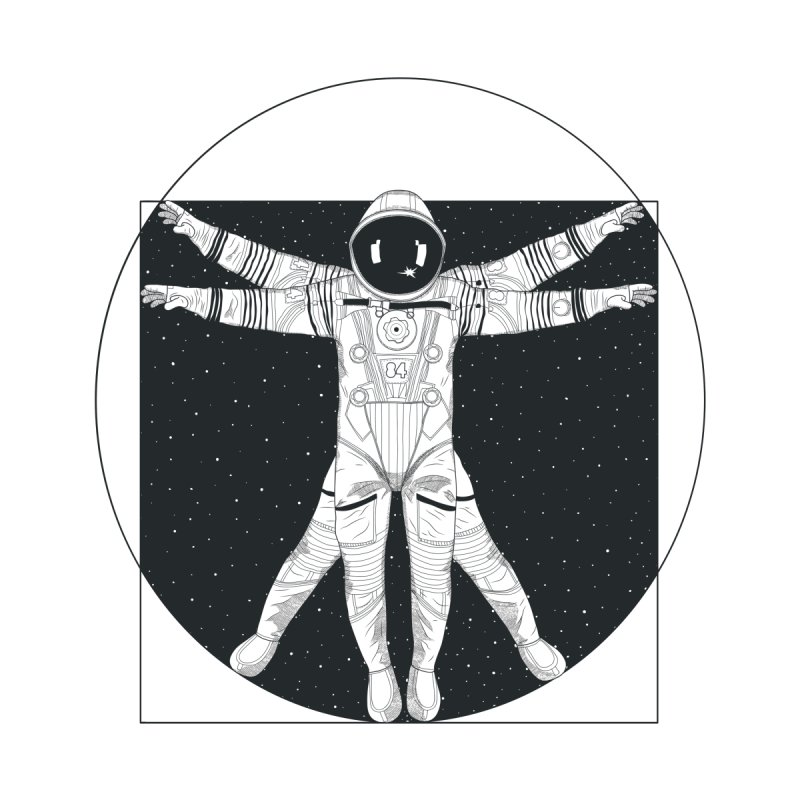 Vitruvian Spaceman (Dark Ink) Women's V-Neck by 84collective
