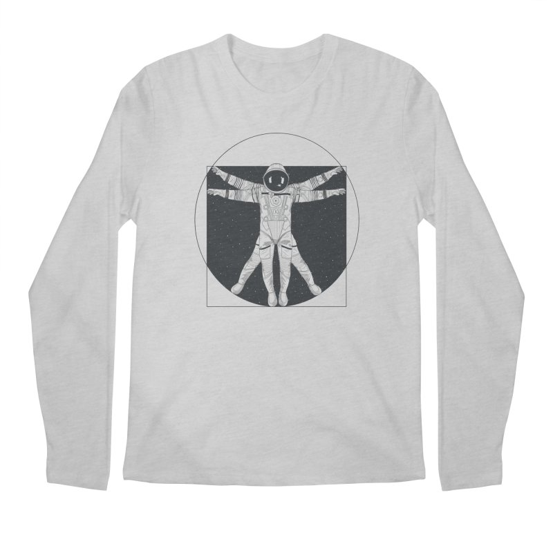 Vitruvian Spaceman (Dark Ink) Men's Longsleeve T-Shirt by 84collective