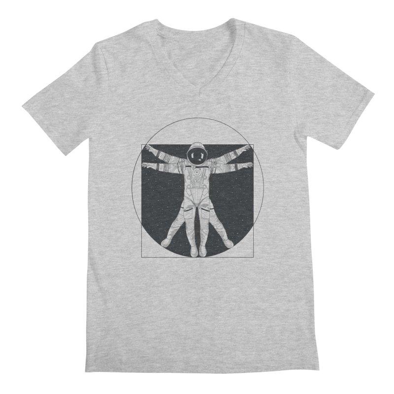 Vitruvian Spaceman (Dark Ink) Men's Regular V-Neck by 84collective