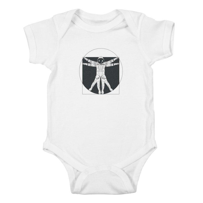 Vitruvian Spaceman (Dark Ink) Kids Baby Bodysuit by 84collective