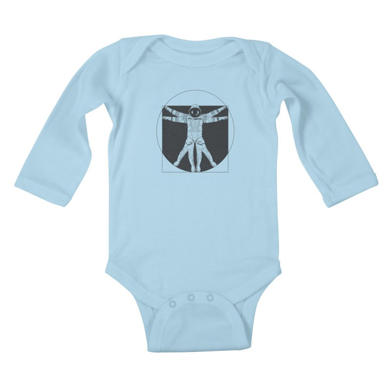 Vitruvian Spaceman (Dark Ink) Kids Baby Longsleeve Bodysuit by 84collective