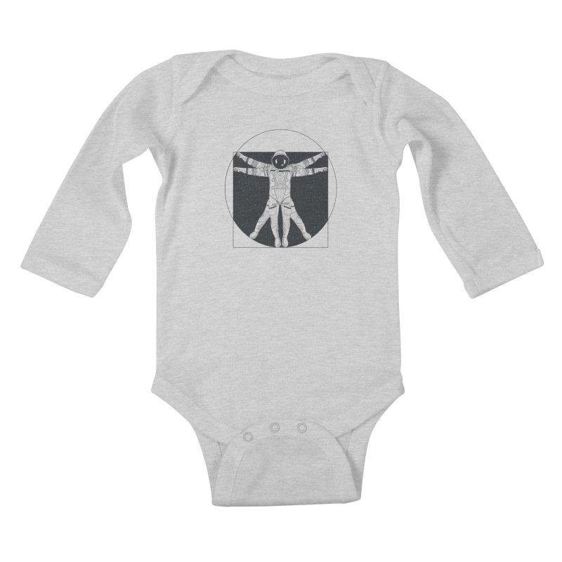 Vitruvian Spaceman (Dark Ink) Kids Baby Longsleeve Bodysuit by 84collective