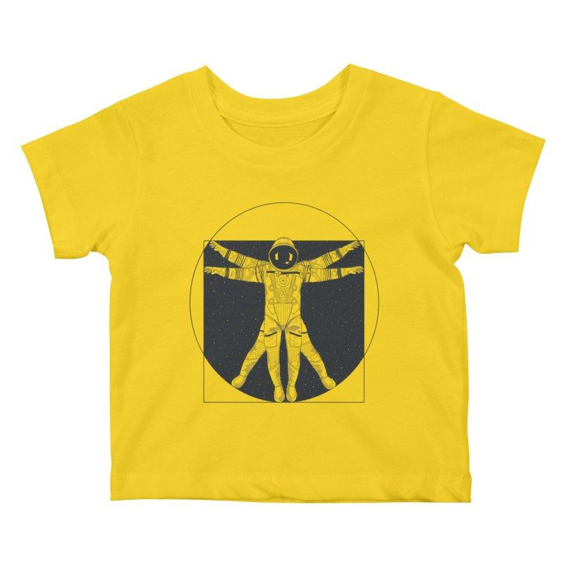 Vitruvian Spaceman (Dark Ink) Kids Baby T-Shirt by 84collective